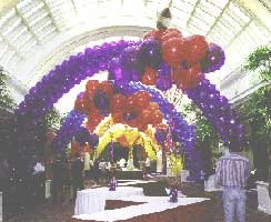 Arches decorating a concourse for a corporate promotion event