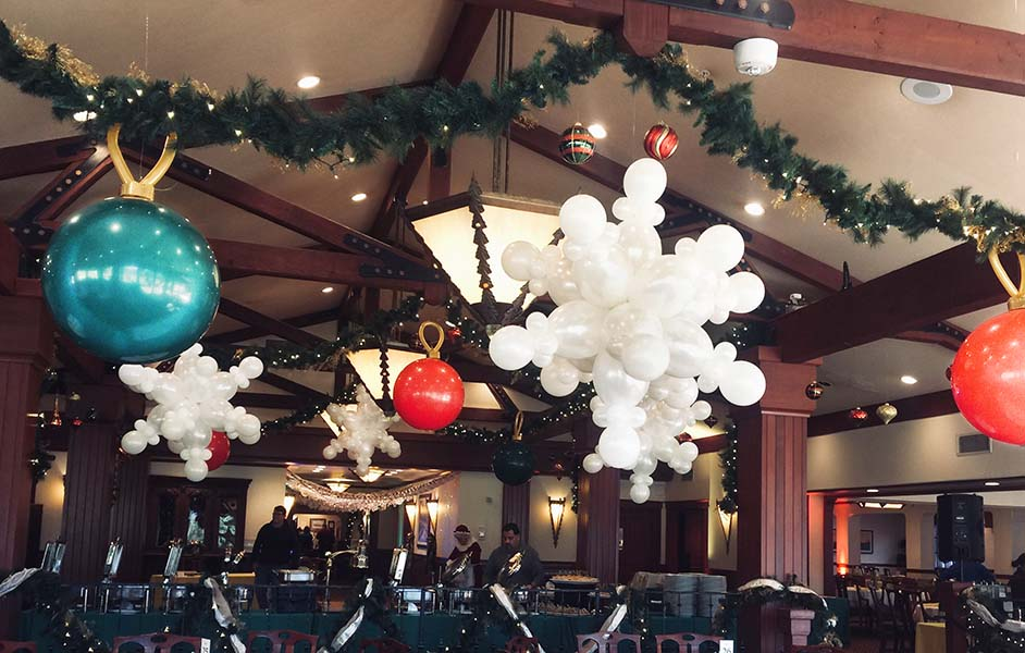 Birthday Balloon Delivery In San Jose Santas Chair Snowflake And Holiday Theme Ceiling Decorations
