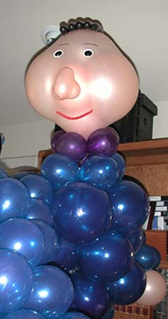 Six foot tall balloon sculpture of Candide created as a decor piece for a cast party following a performance of the operetta