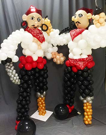 These 6 foot tall balloon sculptures of a pair of pirates are a sure hit for theme parties