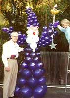 8' tall balloon sculpture of the Wizzard in flowing robes for a children's theme event