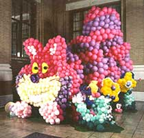 This 20 foot tall Cheshire Cat balloon sculpture was created for an event in Dallas, Texas