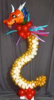 Balloon sculpture of a dragon for a Chinese New Year party