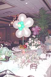5 foot tall pearl white balloon fantasy blossom centerpiece for a buffet table