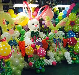 A group of balloon sculpture rabbits awaiting delivery to decor venues