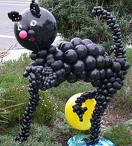 Halloween parties are not complete without several balloon sculpture black cats.