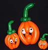 These small pumpkin balloon sculptures are created from non-round balloons