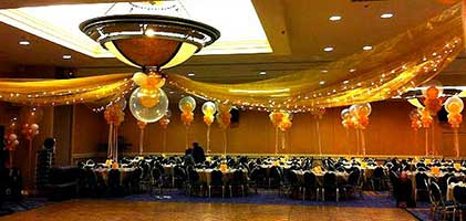 This ballroom decoration consists of a clear thirty inch center balloon suspended from the center ceiling with tulle streamers and twinkle lights radiating out like the spokes of a wheel.