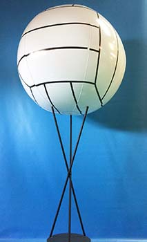 This volleyball-theme centerpiece consists of a 24 inch spire topped by a balloon volleyball. This centerpiece can be customized for your sport and team celebration event.