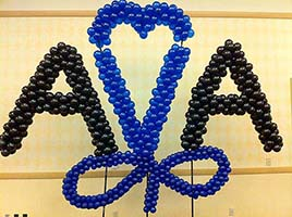 Giant American Airlines logo created from balloons for a marketing event