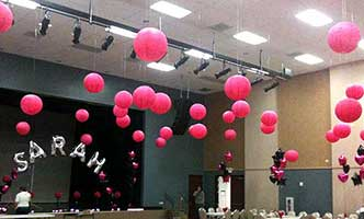 Hot pink ceiling bubbles for a Mitzvah event