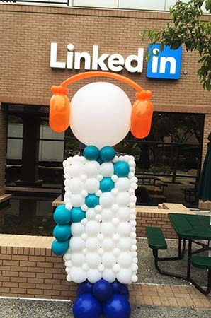 A 7 foot tall balloon character logo sculpture created for an event at Linked in headquarters